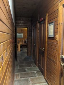 The hallway to the upstairs bathrooms
