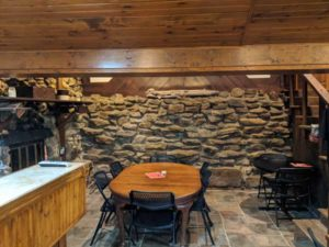 The winery tasting room was built with fieldstone walls and timber framing